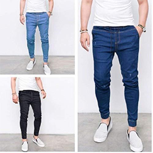 Jeans Grigio Da Hellblau2 Skiny Pantaloni Fit Coulisse Elecstic Uomo Slim Vita Bule Casual Denim Con Abbigliamento rRPTqArBwf