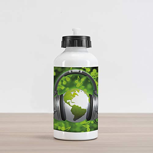 - Ambesonne World Aluminum Water Bottle, World of Music Themed Composition DJ Headphones Musical Notes and Earth Globe, Aluminum Insulated Spill-Proof Travel Sports Water Bottle, Lime Green Grey
