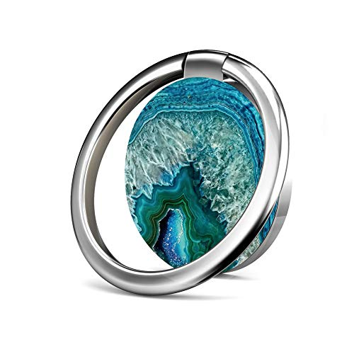 Finger Ring Stand 360°Rotation 180°Flip Ring Stand Grip Mount for iPhone 7/7 Plus, Galaxy S8/S8 Plus and Other Smartphones - Aqua Turquoise Agate Mineral gem Stone