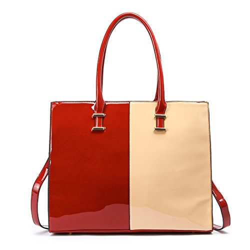 LeahWard Faux Leather Large Size Women's Tote Bags College A4 Folder Handbag Sale Clearance 319 Burgundy/Nude