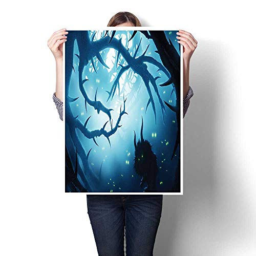 Canvas Wall Art,Decor Animal with Burning Eyes in Dark Forest at Night Horror Halloween Illustration Oils,Art Stickers,12