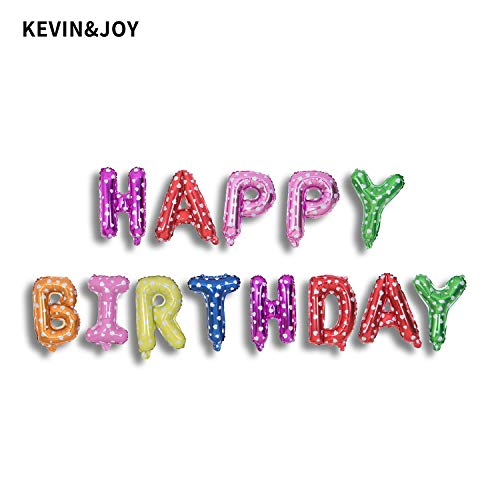 Kevin&Joy Happy Birthday Foil Letter Balloons 16 inch Mylar Alphabet Banner Balloons for Kids Adults Birthday Party Decorations Gold/Silver/Assorted Color]()