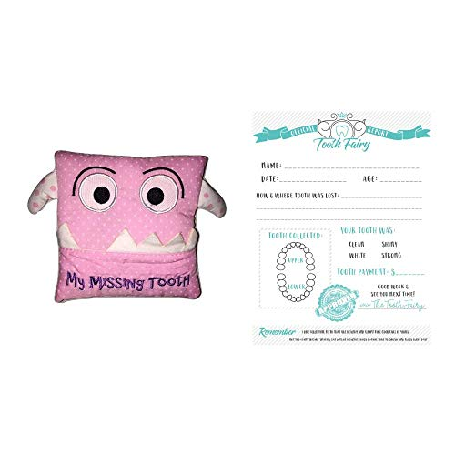 (Bek Brands Children's My Missing Tooth Pillow Tooth Fairy Official Tooth Collection Report (Pink, Mini))