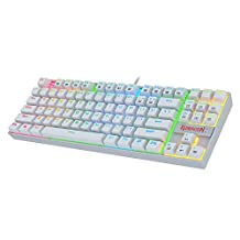 Redragon K552 - Teclado mecánico para videojuegos (87 teclas, teclado mecánico KUMARA USB, con cable Cherry MX azul, interruptores equivalentes para Windows PC Gamers, Retroiluminación RGB de color blanco.