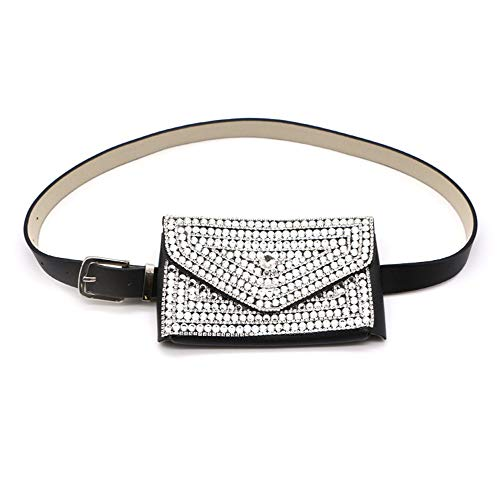 Leg Bag Pouch Messenger Women Belt Bags Luxurious Crystal Rhinestone Waist Bag Multifunction Mini PU Leather Travel Bumbag Holiday Fanny Pack Cell Phone Pouch Money Holder for Outdoor Sports Multifunc
