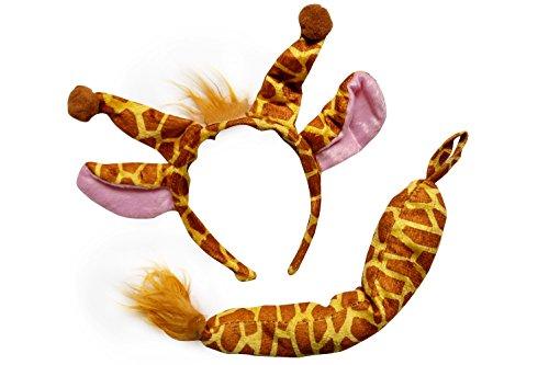 Giraffe Tutu Costumes (So Sydney Kids Teen Adult Plus Tutu Skirt, Ears, & Tail Headband Costume Halloween Outfit (One Size Ears/Tail Only, Giraffe))