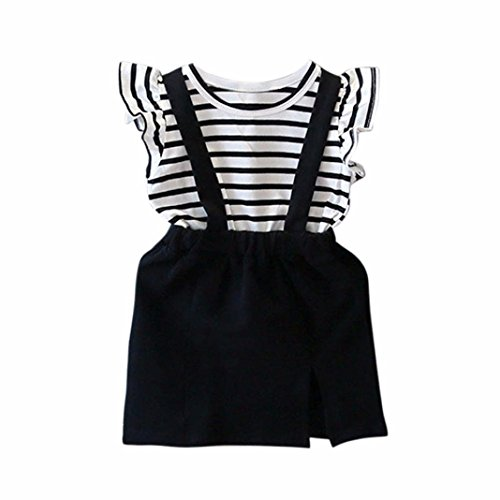 FEITONG Girls Stripe Shirt Chiffon Culottes 2 Pieces Set Clothes Skirt Suit from FEITONG
