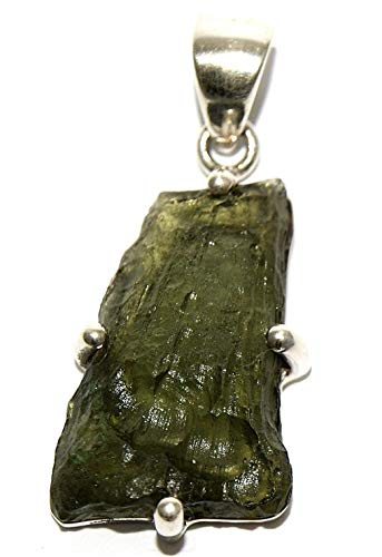 Moldavite Sterling Silver Pendant Raw Rare Natural Crystal MOLDP1802 by Gifts and Guidance