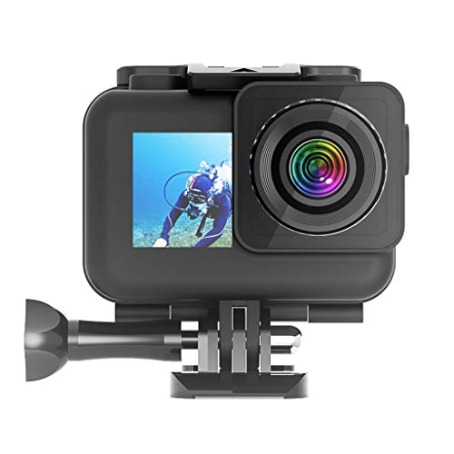 FineWaterproof Housing Case for DJI OSMO Action Camera, 61M Underwater Photography Hard Diving Protective Housing Shell,A Waterproof Film, and High Light Transmittance Plating (Black)