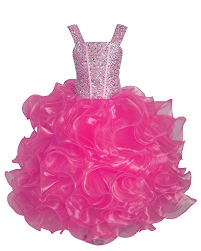 GreenBloom Girls Crew Sequins Ruffled Beading Princess Birthday Formal Dresses Plum 8