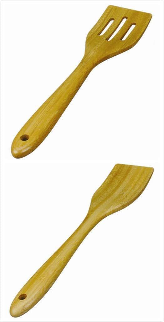 JB Home Collection 4565, Large Spatula Set Spatulas for Non Stick Cookware Eco-Friendly Bamboo Wooden Kitchen Utensil Set, Pack of 2