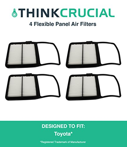 "4 Replacements for Toyota Rigid Panel Air Filter Fits Prius Hybrid, Maximum Air Flow, 1.04"" x 7.34"" x 11.35"" in., Compatible With Part # A25698 & CA10159, by Think Crucial"
