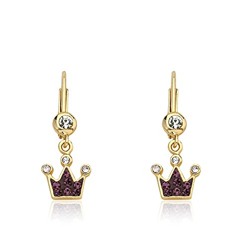 Molly Glitz Pretty Princess 14k Gold-Plated Purple Crystal Crown Dangle Leverback Earring