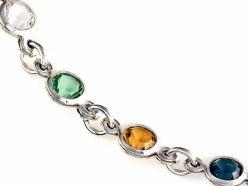 Finejewelers 10 Inches Ankle Bracelet with Simulated Stones Sterling Silver by Finejewelers (Image #1)