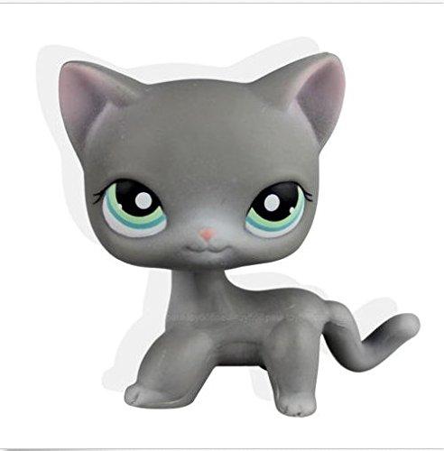 Rare Littlest Pet Shop Gray Short Hair Cat Kitty Green Eye Pink Ears LPS (Cat Gray Little)