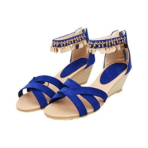 Ciondolo Donna Moda Estate Tacco Medio Zeppa Open Toe Sandalo Blu