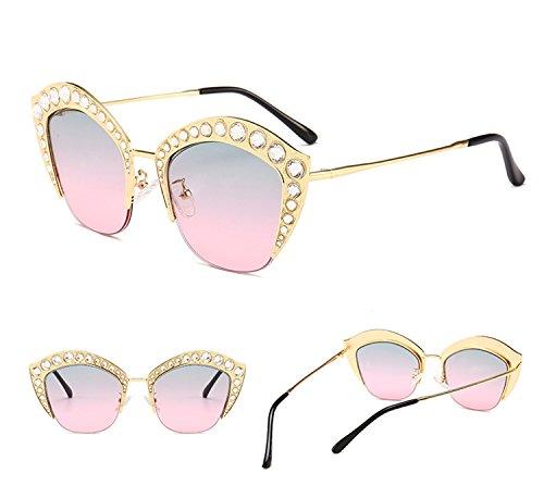 Lip Decoration HD de armadura de sol Rosado reflectante Mujeres Moda PC hombres de la con Lente tamaño para ATNKE Shape UV400 protección gran Diamond de Gafas Gafas RwqCZdx1S
