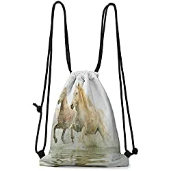 Home storage bag Horses,Camargue Horses in Water Ancient Oldest Breed Southern France Origin Artful Photo, White Beige W13.8 x L17 Inch Practical Unise Small Bag