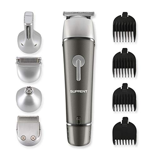 SUPRENT Beard Trimmer Kit, 5 in 1 Multi-functional Body Groomer Kit of Mustache Trimmer, Nose Hair Trimmer and Precision Trimmer, Waterproof and Rechargeable Cordless (Upgraded Gray)