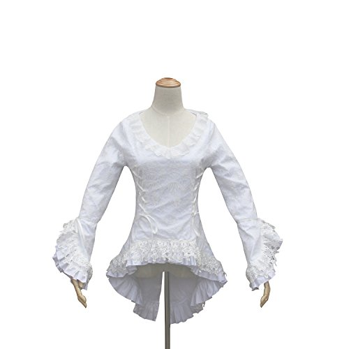 Shaper Corset Victorian Gothic White Women Blouse Top Bodice Lace Theatre (M)