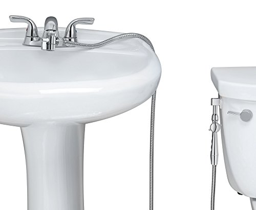 New!! Aquaus 360° for Faucet Warm Water Bidet w/ EZ Thumb Pressure Controls on Both Sides of the Sprayer - Stainless Steel StayFlexTM Hose - Hand Held Bidet, Shattaf, Diaper Sprayer. Hot, Warm, Heated Bidet