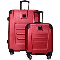 "Kenneth Cole Reaction Get Away 2-Piece Expandable Upright Luggage Spinner Set: 25"" and 16"" Carry On Under Seat Bag (Red)"
