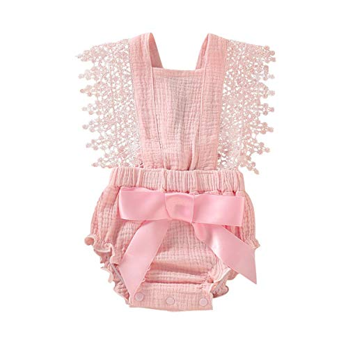 Newborn Kids Baby Girls Clothes Floral Outfits Set Lace Romper Suit Baby Headband (Pink 1, 0-6 Months(70))