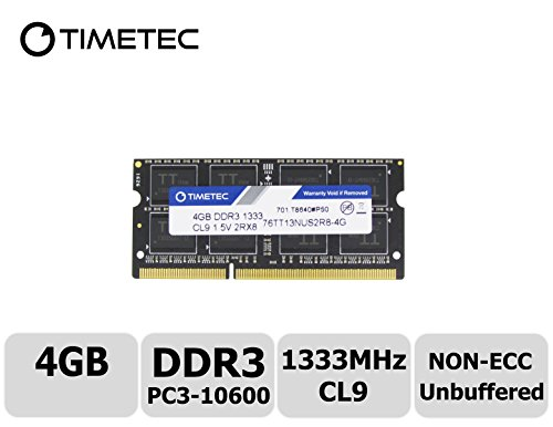 Timetec Hynix IC 4GB DDR3 1333MHz PC3-10600 Non ECC Unbuffered 1.5V CL9 1Rx8 Single Rank 204 Pin SODIMM Laptop Notebook Computer Memory Ram Module Upgrade(High Density (10600 Single)