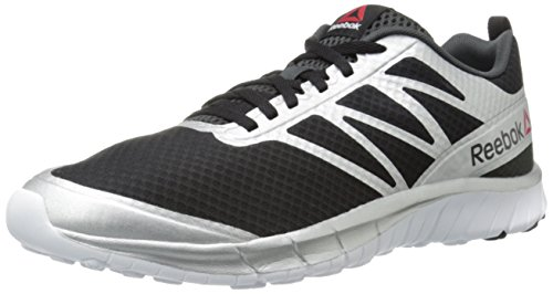 Reebok Men's Soquick Running Shoe, Black/Gravel/Silver/White, 8 M US (Mens Reebok Spring)