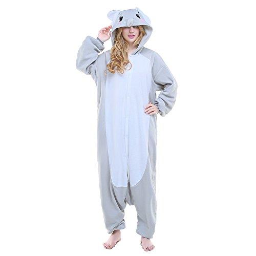 Newcosplay Unisex Costume Cosplay Homewear Elephant Onesie Pajamas (M, Grey -
