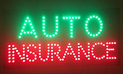 """24""""X12"""" Auto Insurance Sign, Super Bright LED Open Sign, Store Sign, Business Sign, Windows Sign with Animation and Power Switch"""