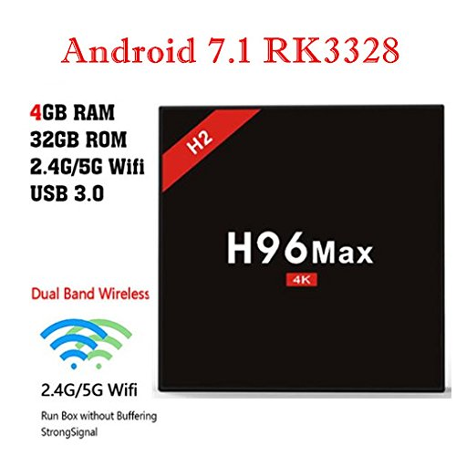 H96 Max H2 RK3328 Chip 4GB RAM 32GB ROM Android 7.1 Quad Core CPU Support 5G WiFi Hindo Technology Co. Ltd H96MAXH2B