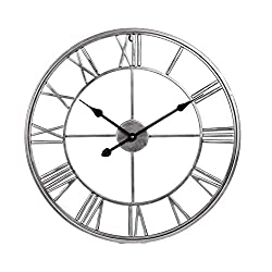 Large Wall Clock Creative Modern Wall Clock Decorative Silent Non Ticking Wall Clock - Iron Art Metal Fashion Wall Clock, 20 Inch Diameter with Roman Numerals