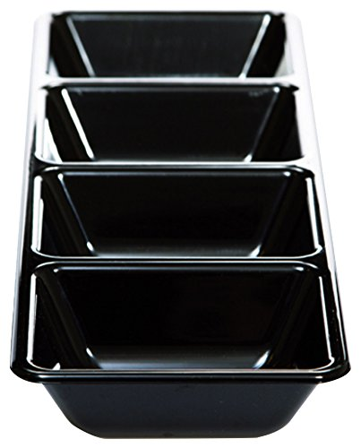 Creative Converting Form and Function Rectangular 4 Compartment Plastic Tray, 16