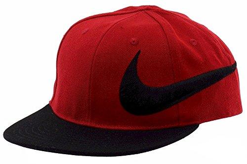 Nike Youth Embroidered Swoosh Logo Red/Black Snap Back Cap Baseball Hat Sz: 4/7