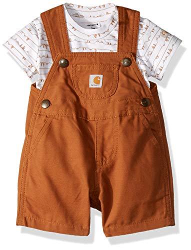 Carhartt Baby Boys 2-Piece Shortall Clothing Set, Mountain Print Brown, - Boy Shortalls Baby