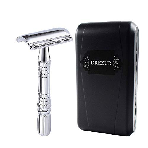 Double Edge Razor by DREZUR, Classic 3-Piece, Old Fashioned Safety Razor, Comes with 10 Premium Razor Blades and Travel Case, Chrome Plated, Gift for Men ()
