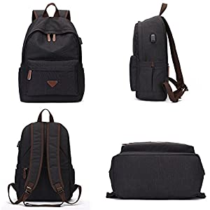 Backpack for Men, Yousu College Student Vintage Anti-theft Backpack Bookbags Water-resistant Rucksack Casual Daypack with USB Charing Port Black