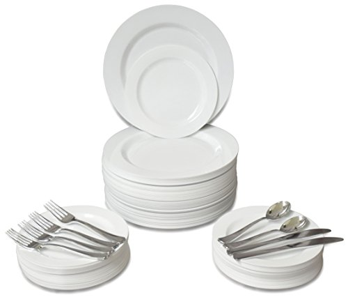 '' OCCASIONS'' 360 PCS / 60 GUEST Wedding Disposable Plastic Plate and Silverware Combo Set, (Plain White plates, Silver silverware) by OCCASIONS FINEST PLASTIC TABLEWARE
