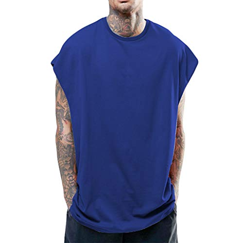 ONLY TOP Men's Hipster Hip Hop Sleeveless Sweatshirt Hoodie Side Zip Longline Tank Top Muscle Shirts Blue