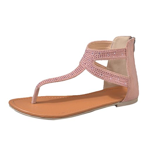 Inverlee Women Diamond Zipper Gladiator Low Flat Flip Flops Beach Sandals Bohemia Shoes  (Pink, 6.5 (US)) -