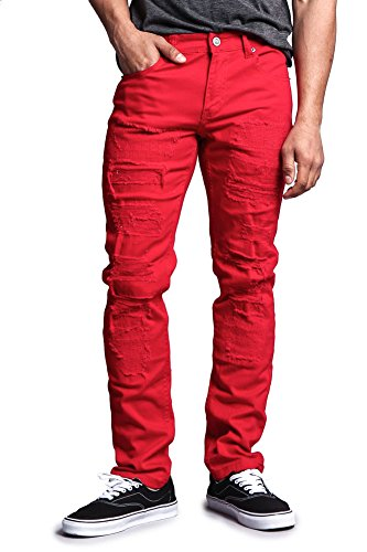 Victorious Distressed Colored Skinny Jeans DL133 - RED - 34/32 - F16G