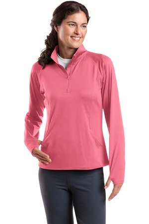 Sport-Tek Ladies Sport-Wick Stretch 1/2-Zip Pullover - Dusty Rose - XXXX-Large