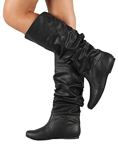 FISACE Womens Wide Calf Mid Calf Faux Leather Scrunch Flat Riding Boot Black