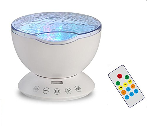HXY Ocean Wave Light Projector with Remote Control, Sky Night Light Projector for Kids,Adult Bedroom Speaker Inside, Micro Memory Card Slot TF-Slot