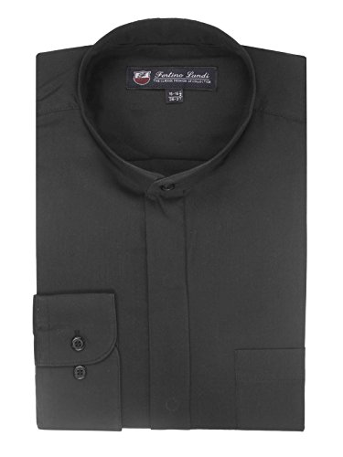FORTINO LANDI Men's Long-Sleeve Banded Collar Shirt - Black XL(17-17.5 Neck) Sleeve 34/35