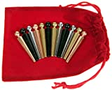 Deluxe Games and Puzzles Metal Cribbage Pegs Extra Large Ball Top _ Set of 12 pegs in 4 Colors _ for Specialized Cribbage Boards _ Bonus Soft Red Velveteen Storage Pouch