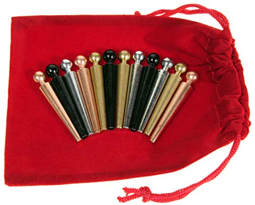 (Deluxe Games and Puzzles Metal Cribbage Pegs Extra Large Ball Top _ Set of 12 pegs in 4 Colors _ for Specialized Cribbage Boards _ Bonus Soft Red Velveteen Storage Pouch )