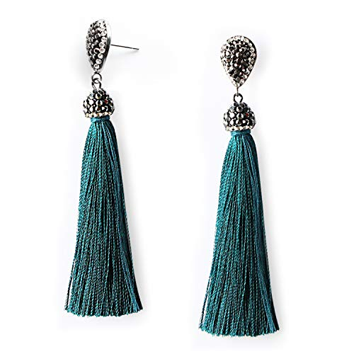 Peacock Blue Teal Fringe Dangle Drop Thread Tassel Earrings Rhinestone Boho Jewelry Long Tassel Stud Earrings for Women