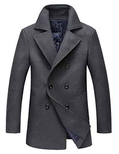 Chouyatou Men's Classic Notched Collar Double Breasted Wool Blend Pea Coat (Large, Gray)